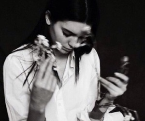 kendall jenner, black and white, and flowers image