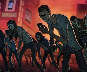 zombie, phone, and reality image