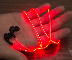 red, headphones, and light image
