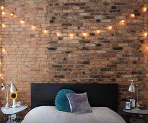 apartment, fairy lights, and bedroom image
