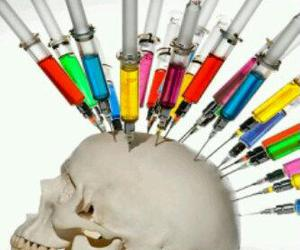 art, skull, and injections image