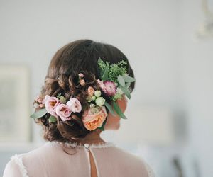 flowers, bride, and hair image