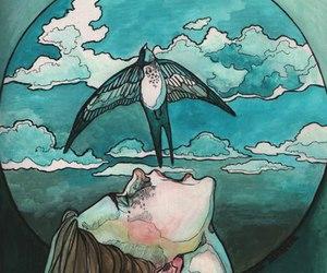 art, bird, and blue image