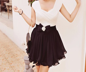 dress, black and white, and style image