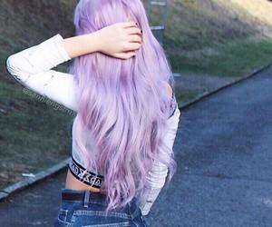 purple hair and pastel hair image