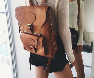 fashion, girls, and backpack image
