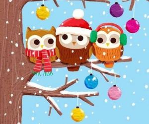 owl, winter, and christmas image