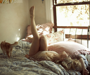 bed, cat, and girl image