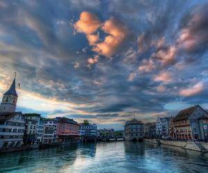 sunset, zurich, and clouds image