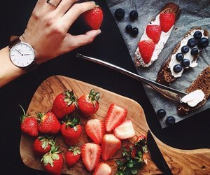 food, fruit, and clock image