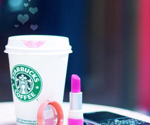 starbucks, lipstick, and pink image