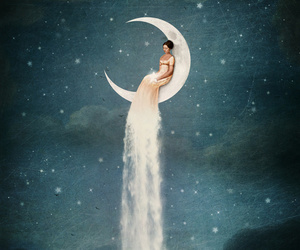 moon, girl, and stars image