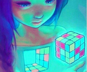 art, cube, and drawing image