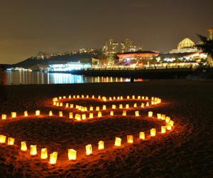 love, beach, and heart image