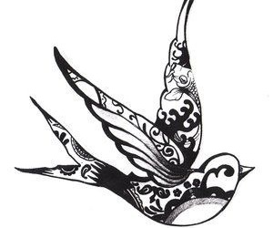 bird, tattoo, and swallow image