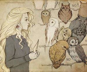 harry potter, owl, and luna lovegood image