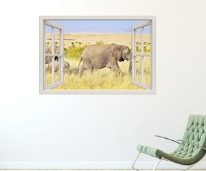 decal, 3d illusion, and elephants image