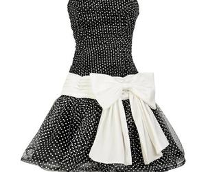 black and white, bow, and dress image