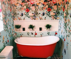 flowers, bathroom, and red image