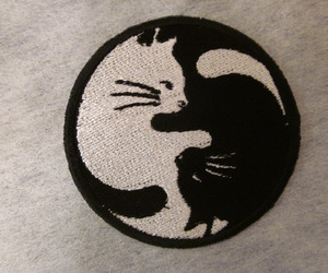 black and white, cat, and patch image