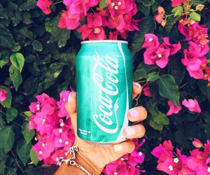 flowers, coca cola, and drink image
