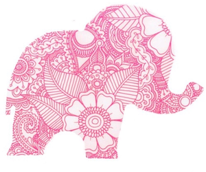 pink, elephant, and flowers image
