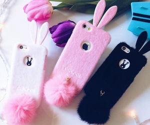 pink, rabbit, and apple image