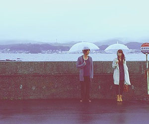 rain, umbrella, and couple image