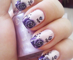 flowers, rose, and nail art image