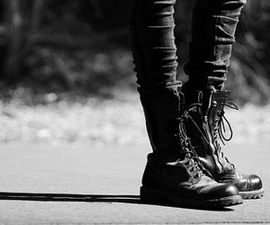 boots, black and white, and legs image