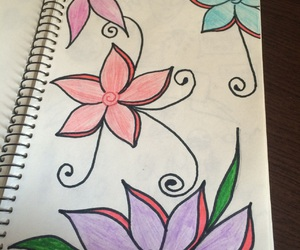 alternative, flower, and notebook image