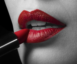 black and white, red, and lipstick image
