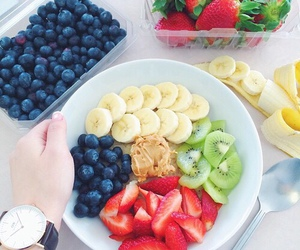 fruit, strawberry, and blueberry image