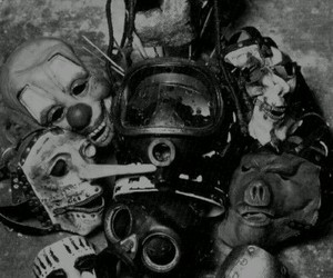 slipknot, mask, and black and white image