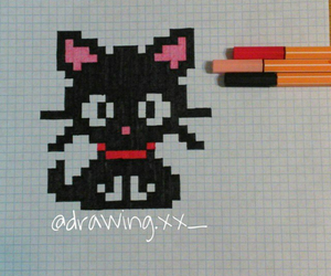 cat, drawing, and pixels image
