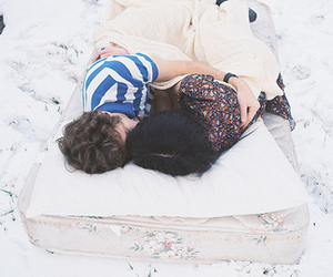 couple, boy, and snow image