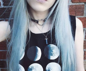 blue, moon, and hair image