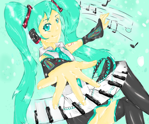 blue, music, and hatsune image