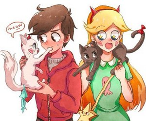 cartoon, star butterfly, and cats image