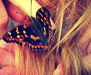 beautiful, blonde hair, and butterfly image