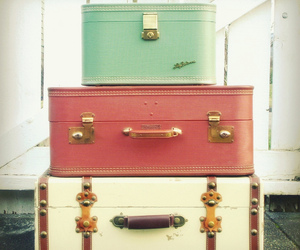 suitcase, vintage, and travel image