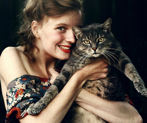 cat and red lipstick image