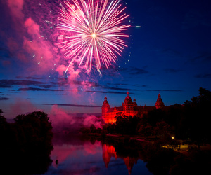 fireworks, castle, and sky image