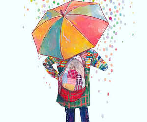 rain, umbrella, and art image