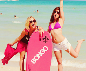 lucy hale, ashley benson, and beach image