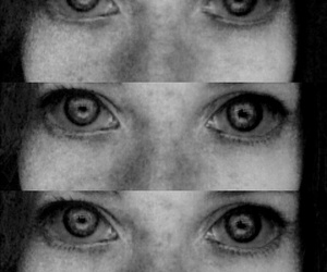 eyes, scary, and black and white image