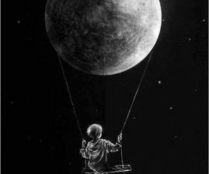 moon, black and white, and kids image