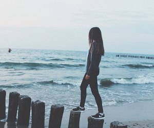 ocean, blue, and girl image