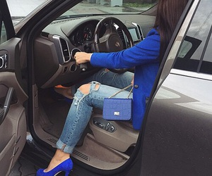 bag, blue, and car image