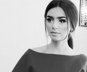 lily collins, pretty, and black and white image